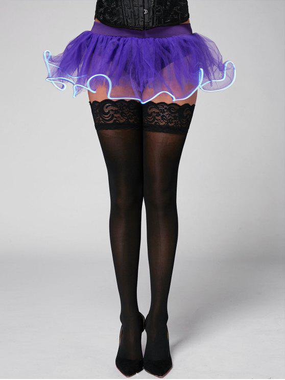 Luz de ballet de malla hasta la falda del partido de Cosplay - Púrpura Única Talla