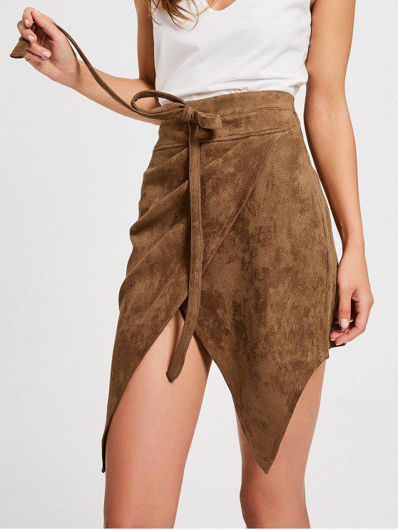 affordable Bowknot High Waist Faux Suede Skirt - DARK KHAKI L