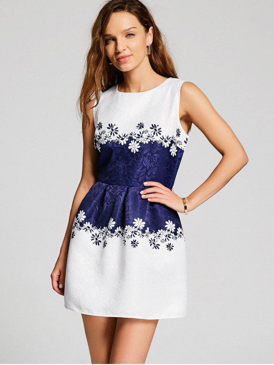 فستان بلا اكمام طباعة الأزهار بقماش الجاكار - أبيض L