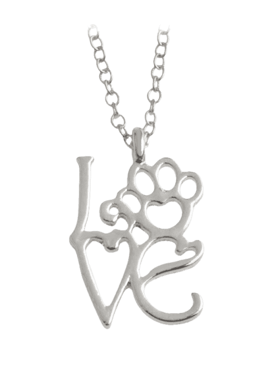 sale Heart Love Paw Footprint Pet Necklace - SILVER