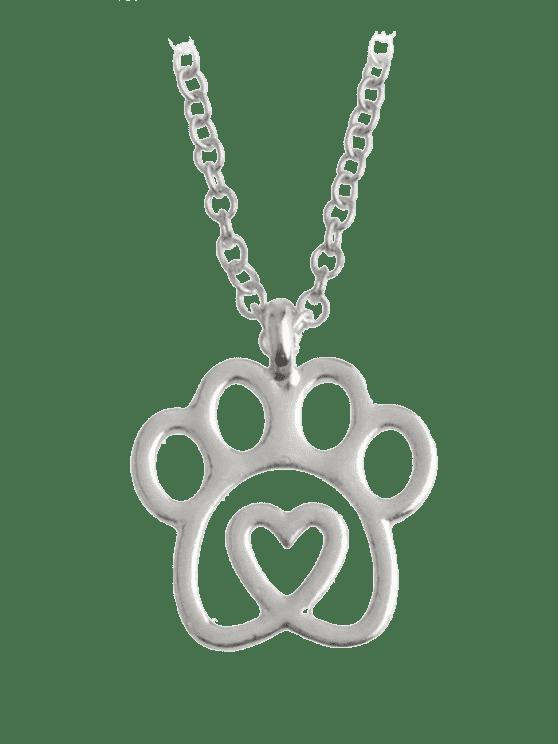 women Heart Claw Footprint Pet Necklace - SILVER