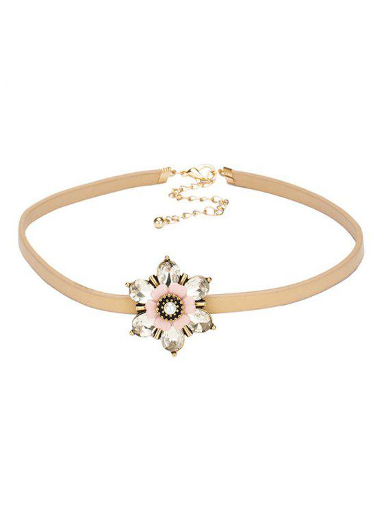 best Rhinestone Flower PU Leather Choker - CHAMPAGNE
