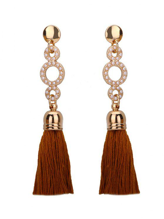 outfits Beaded Circle Tassel Long Earrings - COFFEE
