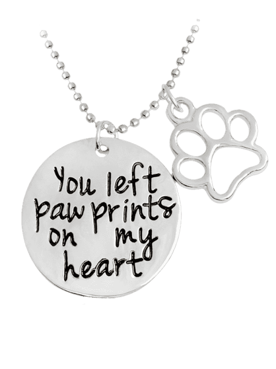 fancy Engraved Heart Round Claw Footprint Necklace - SILVER