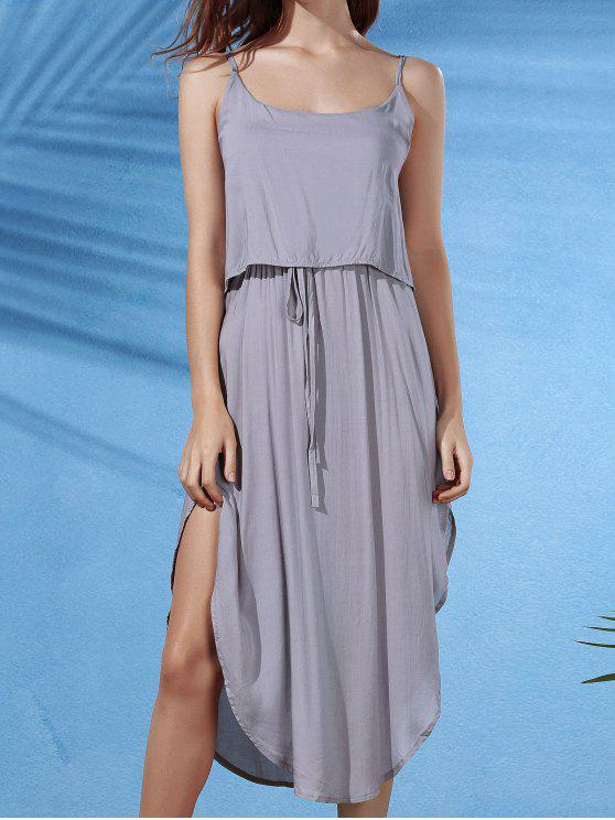 outfit Irregular Hem Spaghetti Straps Drawstring Side Slit Dress - GRAY XL