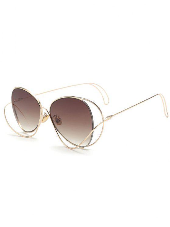 Farbverlauf Metall Kurve Einfassen Sonnenbrille - Dunkelbraun