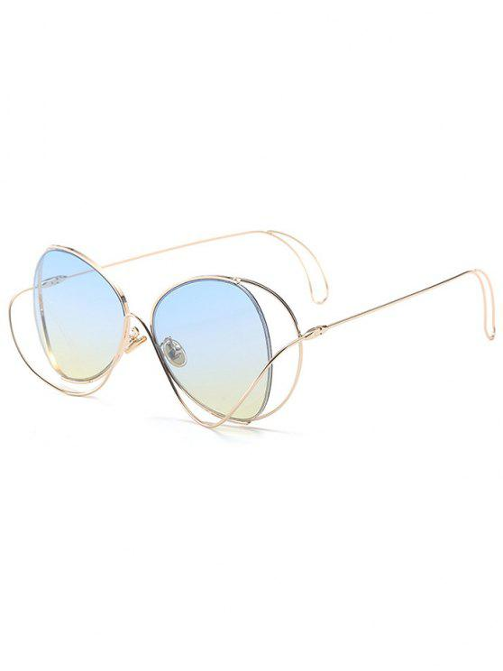 Ombre Metallic Curve Surround Gafas de sol - Azul Claro