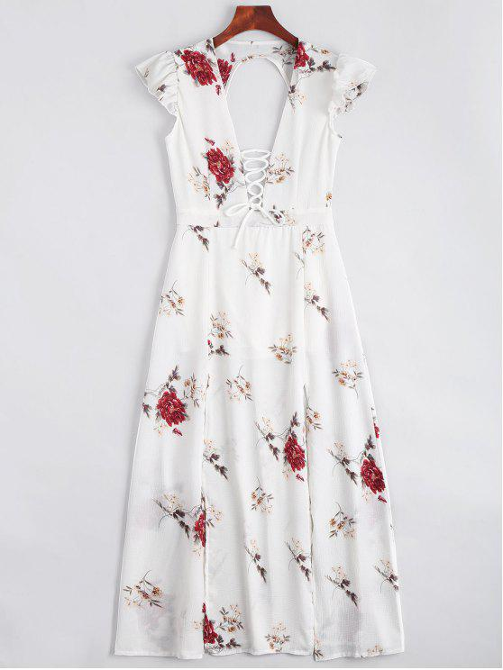 new Lace Up Open Back Floral Maxi Dress - WHITE M