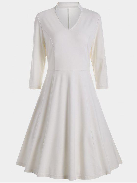 fashion V Neck Three Quarter Sleeves Dress - WHITE S