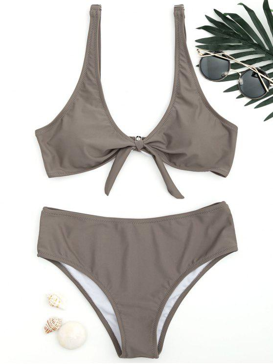 shops Scoop Knotted Bathing Suit - COFFEE M
