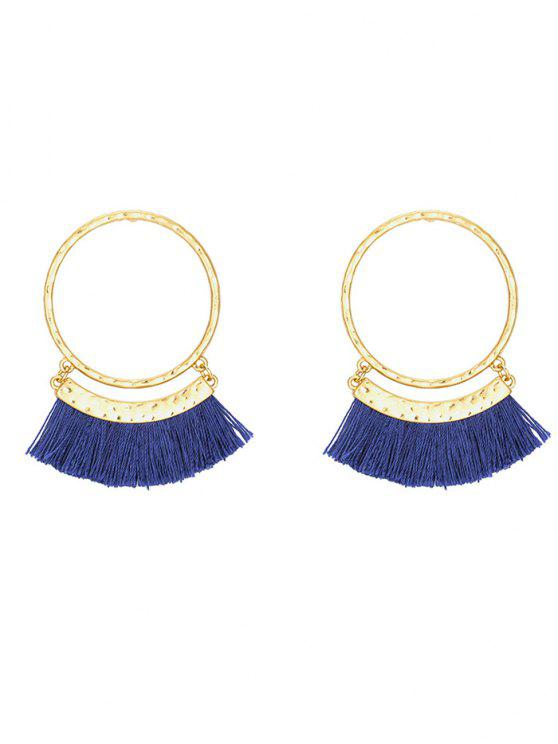 sale Fringed Statement Hoop Stud Earrings - BLUE
