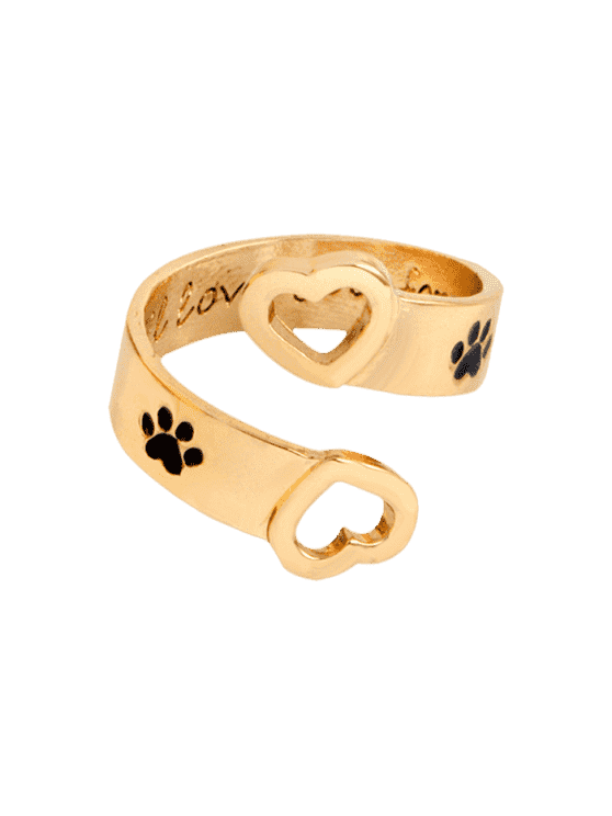 affordable Claw Footprint Love You Forever Heart Ring - GOLDEN