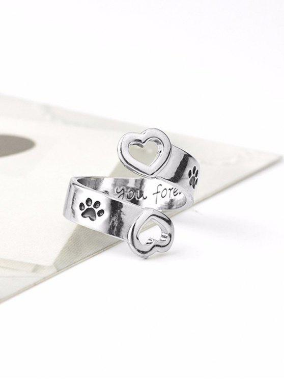 buy Claw Footprint Love You Forever Heart Ring - SILVER