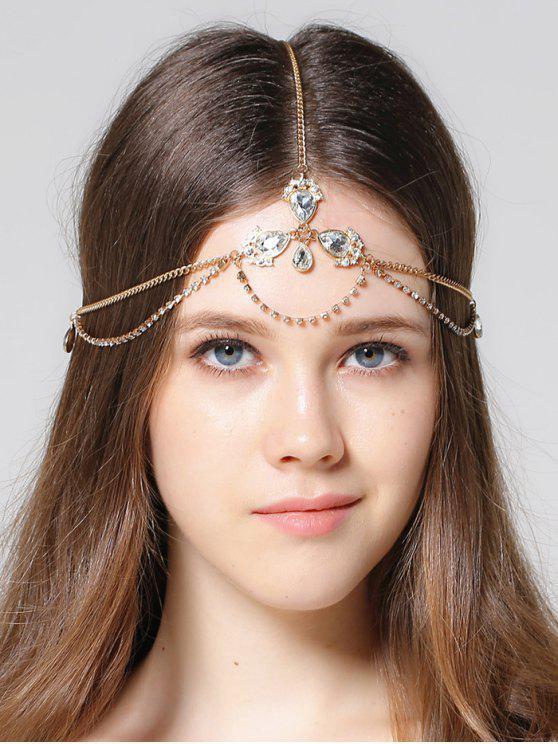 womens Forehead Faux Gem Rhinestone Head Chain - GOLDEN