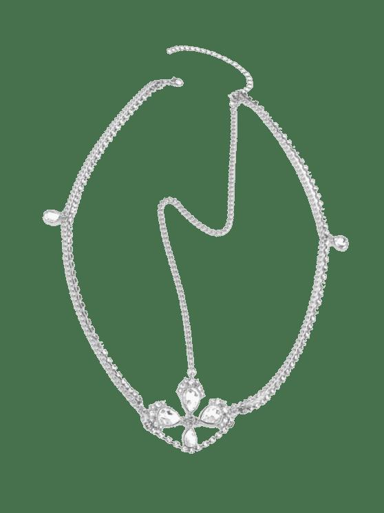 Cadena de la cabeza del Rhinestone de la Faux Gem de la frente - Plata