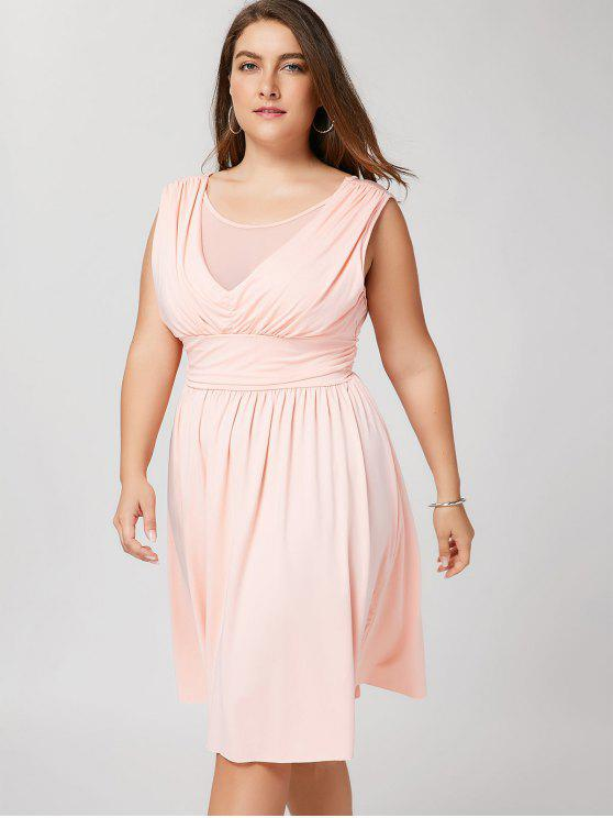 Ruched Back Low Cut Plus Size Kleid - Pink 3XL