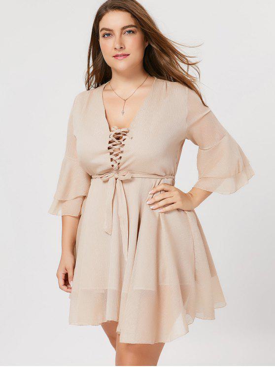 Flare Sleeve Plus Size Lace Up Dress - Abricot XL