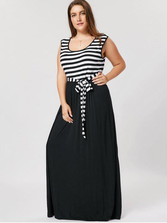 fancy Plus Size Striped Belted Maxi Dress - BLACK XL