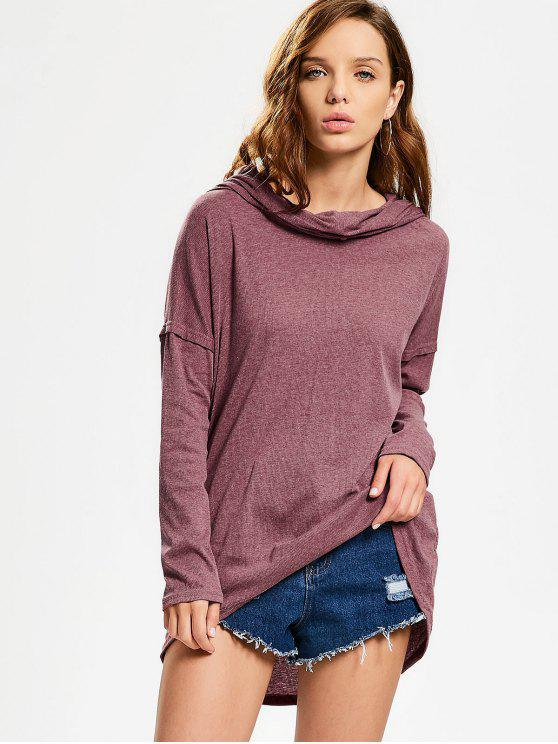 Convertible Collar Knitted High Low Tee - Rojo ladrillo L