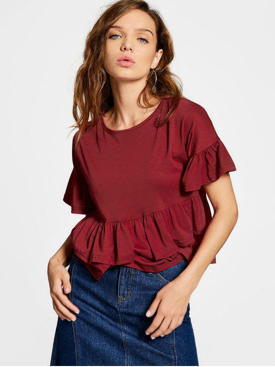 sale Flare Sleeve Tiered Plain Tee - DEEP RED XL