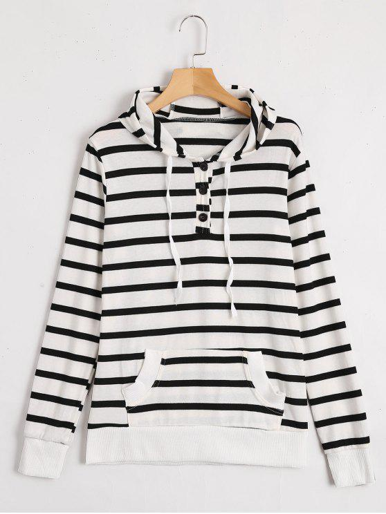 womens Front Pocket Drawstring Striped Hoodie - STRIPE XL