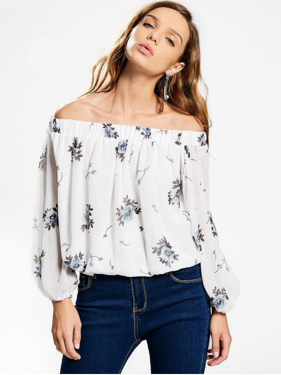 women Off The Shoulder Floral Chiffon Blouse - WHITE S