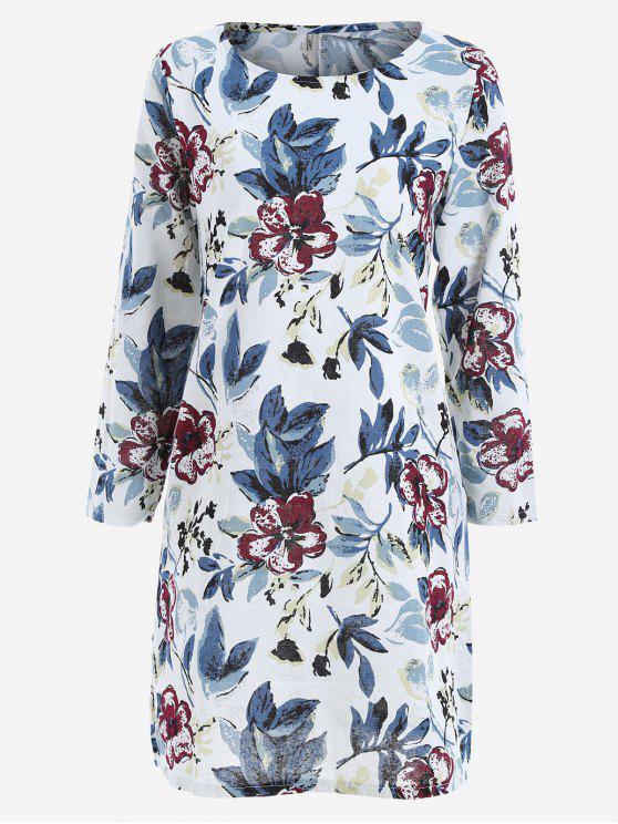 Robe Trapèze Imprimé à Feuilles avec Fente Latérale - Bleu 2XL