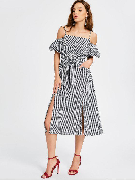 women Puff Sleeve Slit Belted Checked Cami Dress - CHECKED M