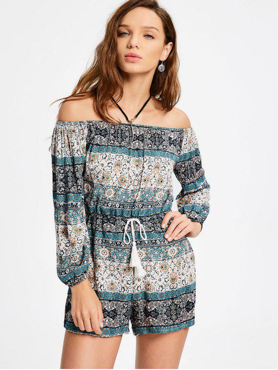 affordable Off The Shoulder Tassels Tribal Print Romper - MULTI S