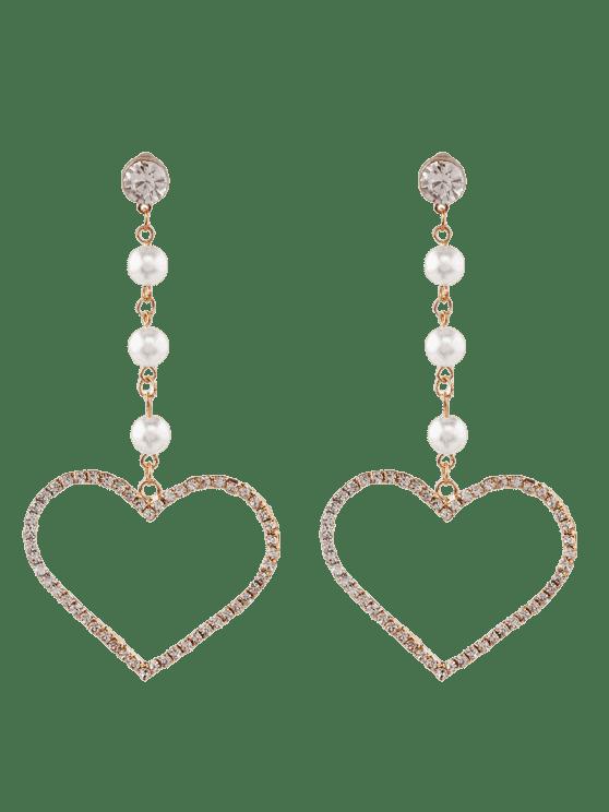 women's Faux Pearl Rhinestone Heart Dangle Earrings - GOLDEN