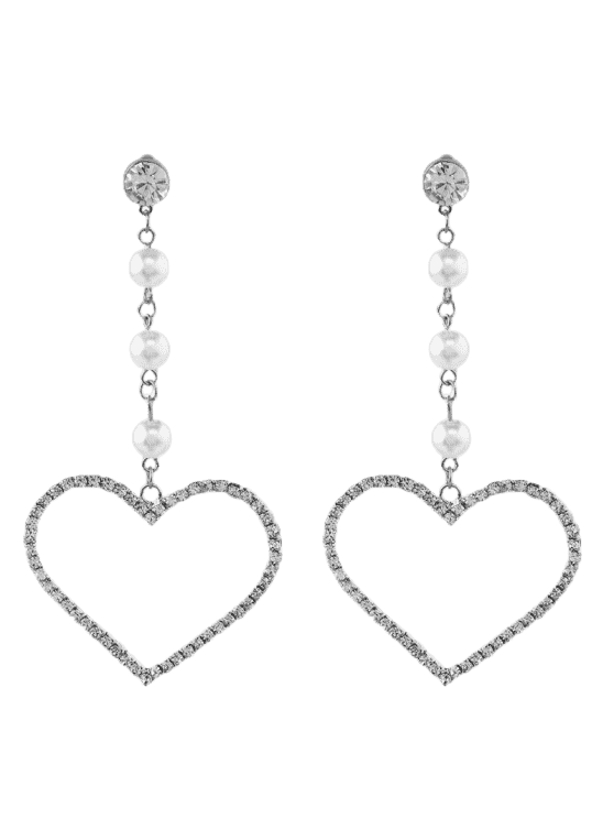 Faux Pearl Rhinestone Heart Dangle Earrings - Argent