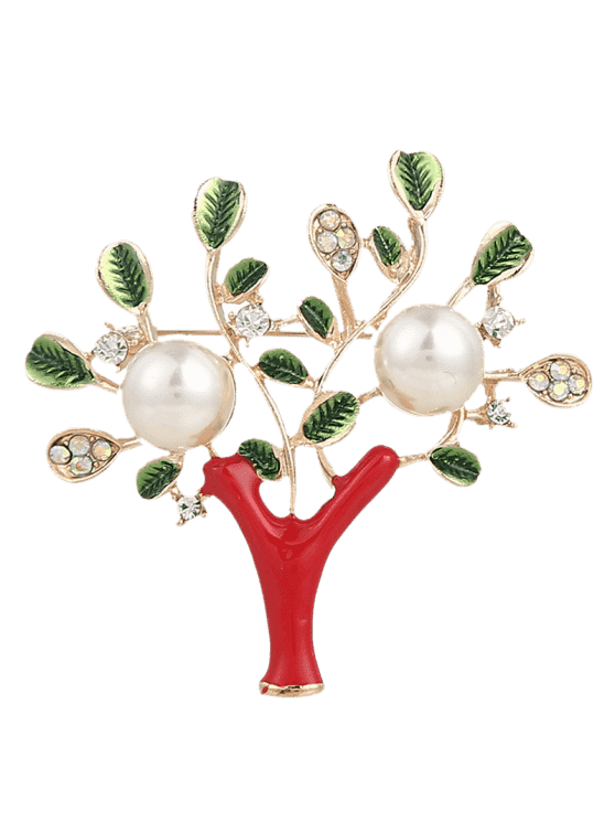 Rhinestone Faux Pearl Tree of Life Brooch - Rouge