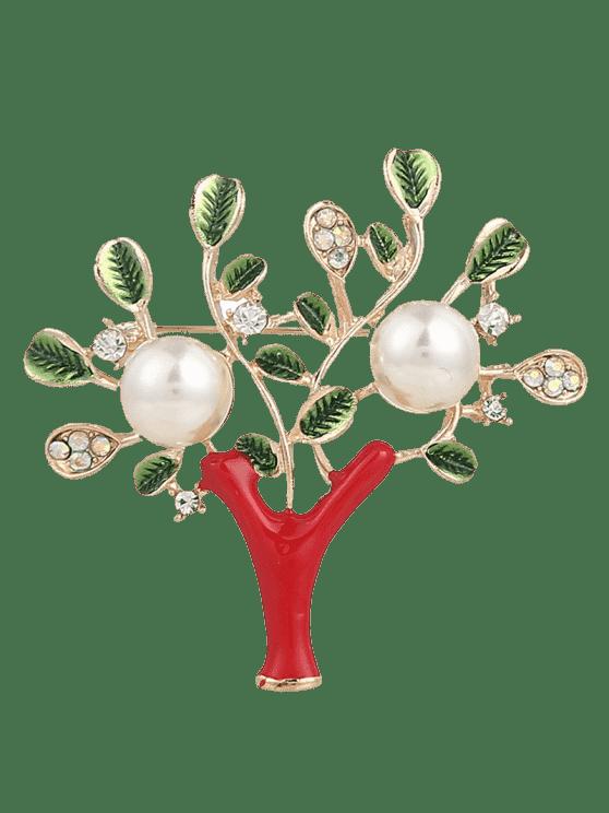 Strass-Faux-Perlen-Baum des Lebens Brosche - Rot