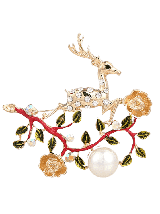 fancy Faux Pearl Rhinestone Christmas Elk Brooch - RED