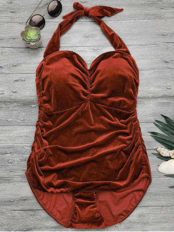 chic Halter Padded Velvet Plus Size Bathing Suit - DARK AUBURN 5XL