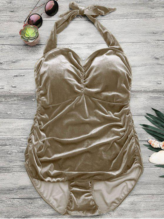 best Halter Padded Velvet Plus Size Bathing Suit - CHAMPAGNE 4XL
