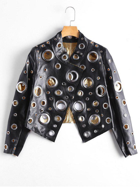 unique Hollow Out Ring Embellished Shiny Jacket - BLACK L