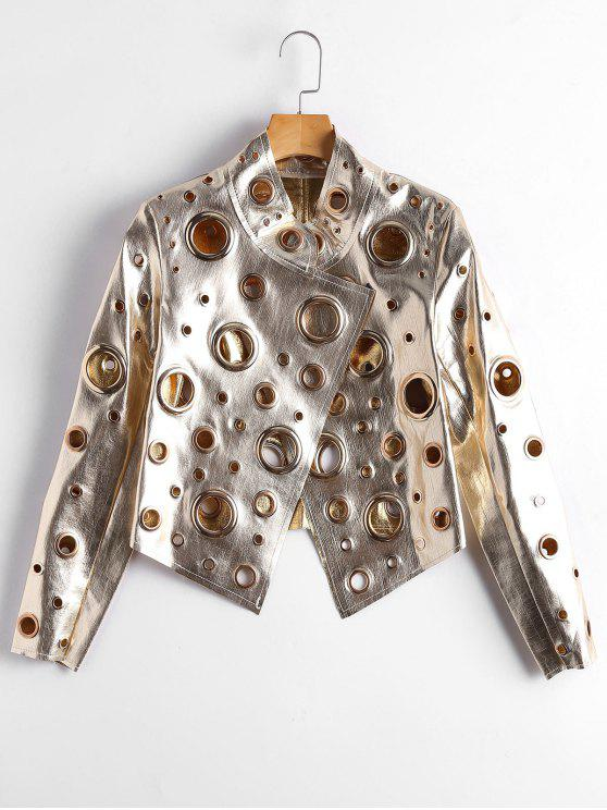 womens Hollow Out Ring Embellished Shiny Jacket - GOLDEN M