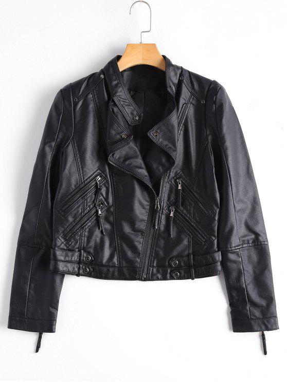 fancy Asymmetrical Zipper Faux Leather Biker Jacket - BLACK XL