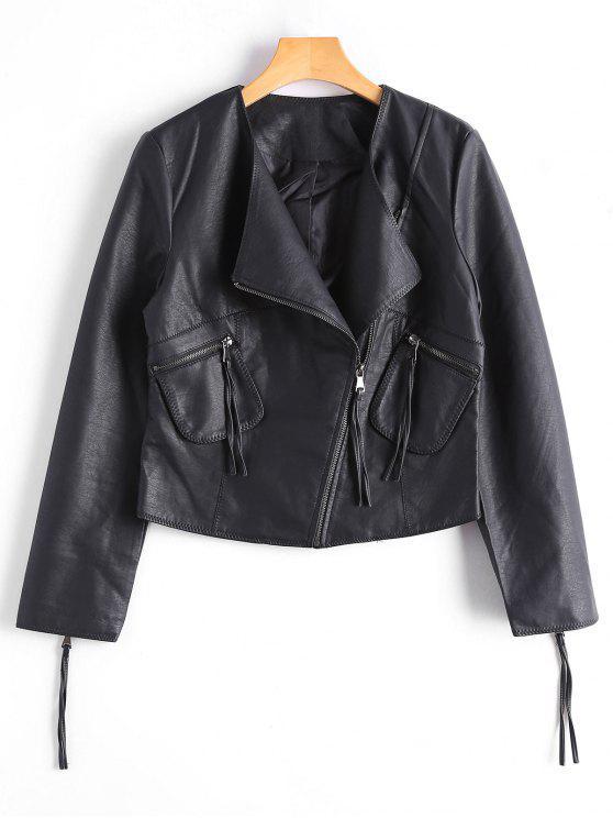 women Zip Up Faux Leather Biker Jacket - BLACK L