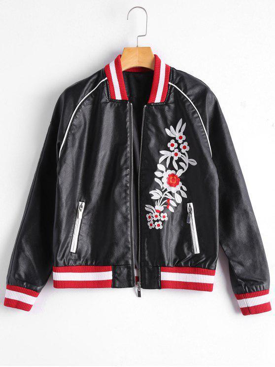 latest Floral Letter Patched Faux Leather Bomber Jacket - BLACK L