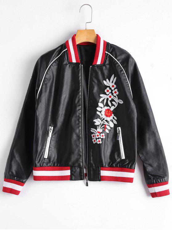 fashion Floral Letter Patched Faux Leather Bomber Jacket - BLACK XL