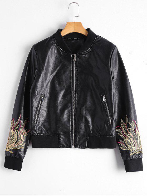 ladies Zip Up Floral Patched Faux Leather Jacket - BLACK S
