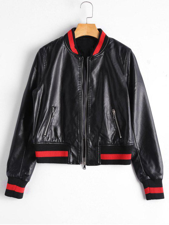 affordable Zip Up Faux Leather Bomber Jacket - BLACK M
