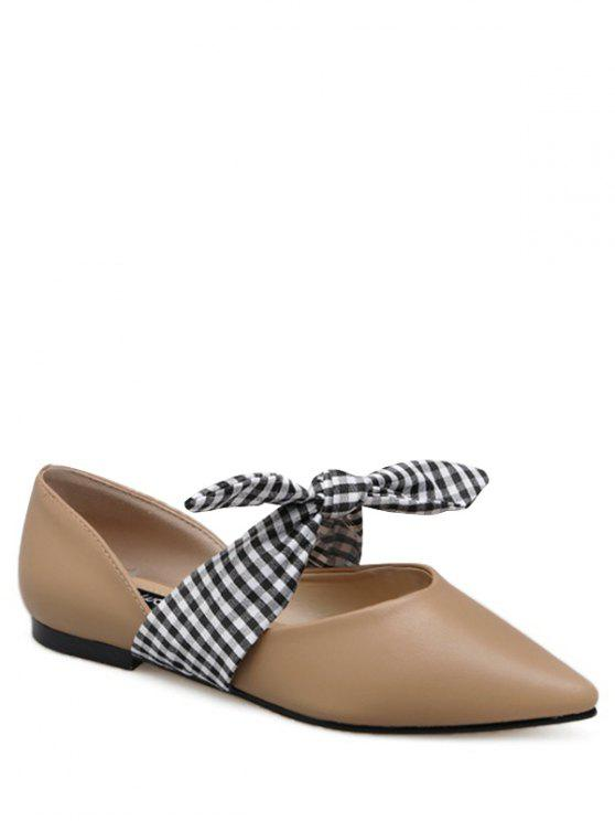 Faux cuir Pointed Toe Tie Up Flat Shoes - Abricot 39