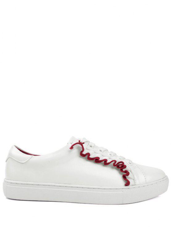 فو الجلود الدانتيل يصل الكشكشة الأحذية المسطحة - أحمر 39