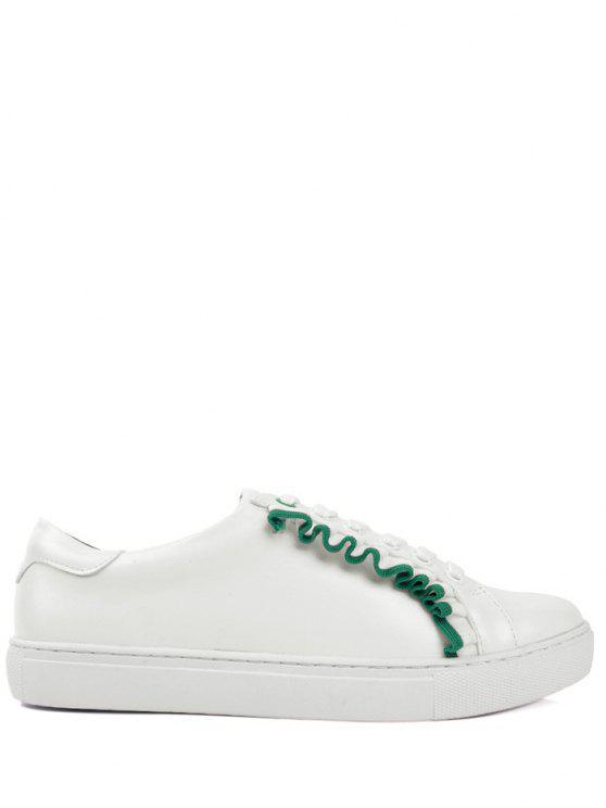 فو الجلود الدانتيل يصل الكشكشة الأحذية المسطحة - أخضر 39