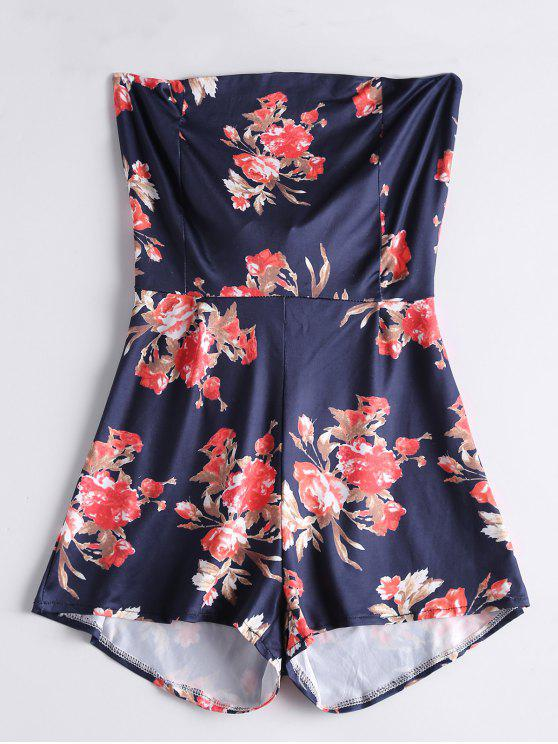 latest Bowknot Floral Cut Out Romper - PURPLISH BLUE XL