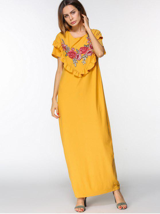 فستان كشكش مطرز بالأزهار ماكسي - الأصفر L