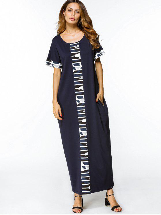 فستان فضفاض مرسوم مستقيم ماكسي - الأرجواني الأزرق 2XL